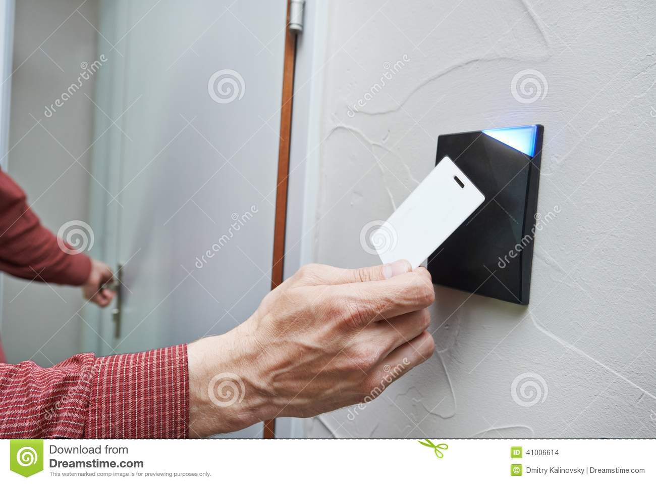 Locked Key Access : Electronic key door access system stock photo image