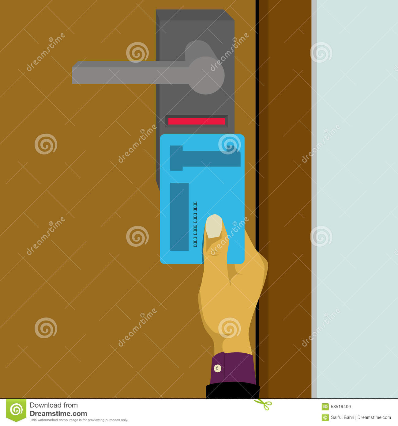 Electronic Key System Smart Key Card Lock Stock Vector
