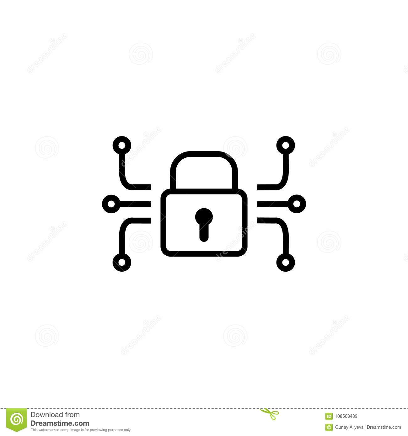electronic lock icon  elements of cyber security icon