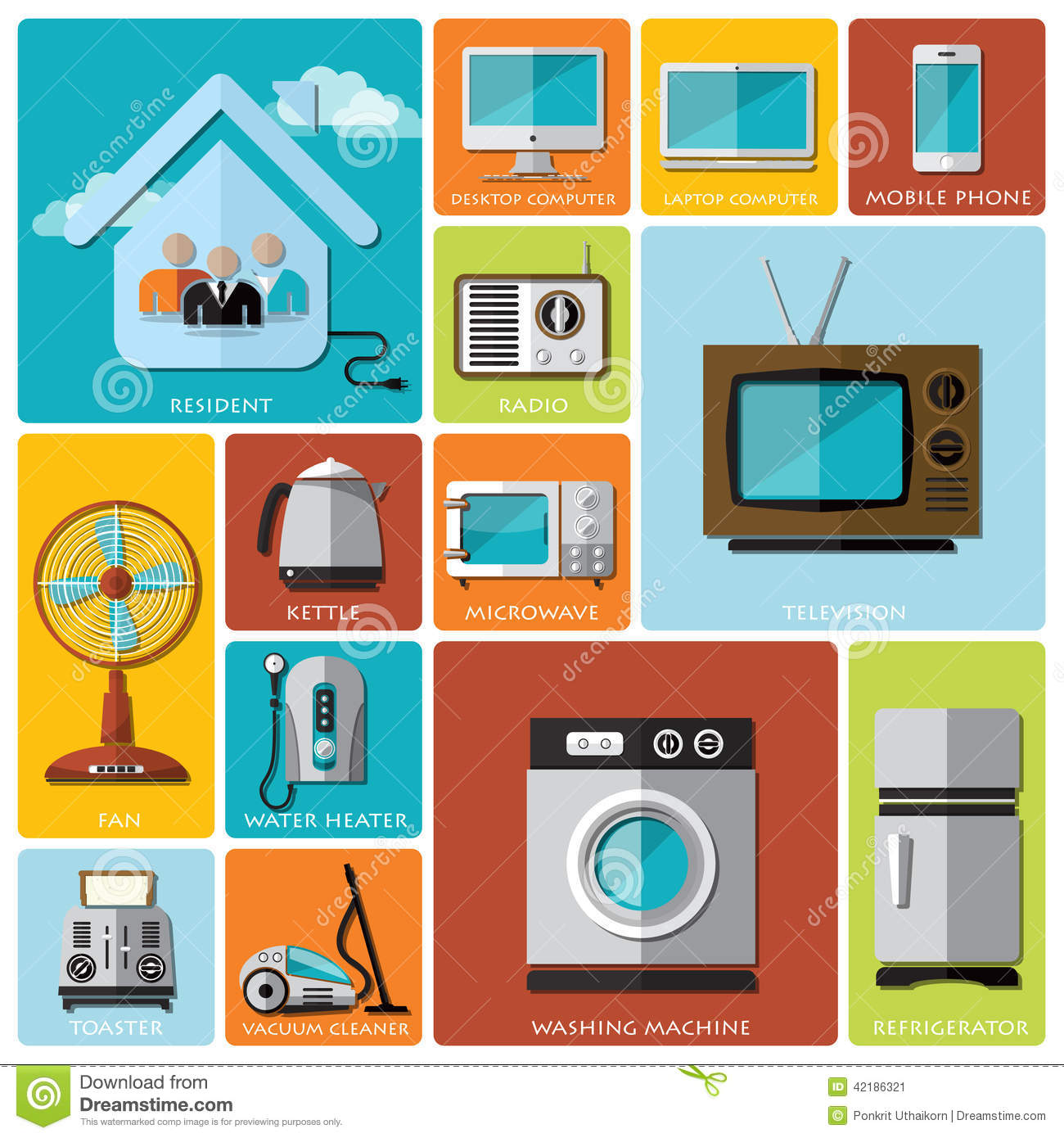Electronic Timing Devices : Electronic machine and house flat icon set stock vector