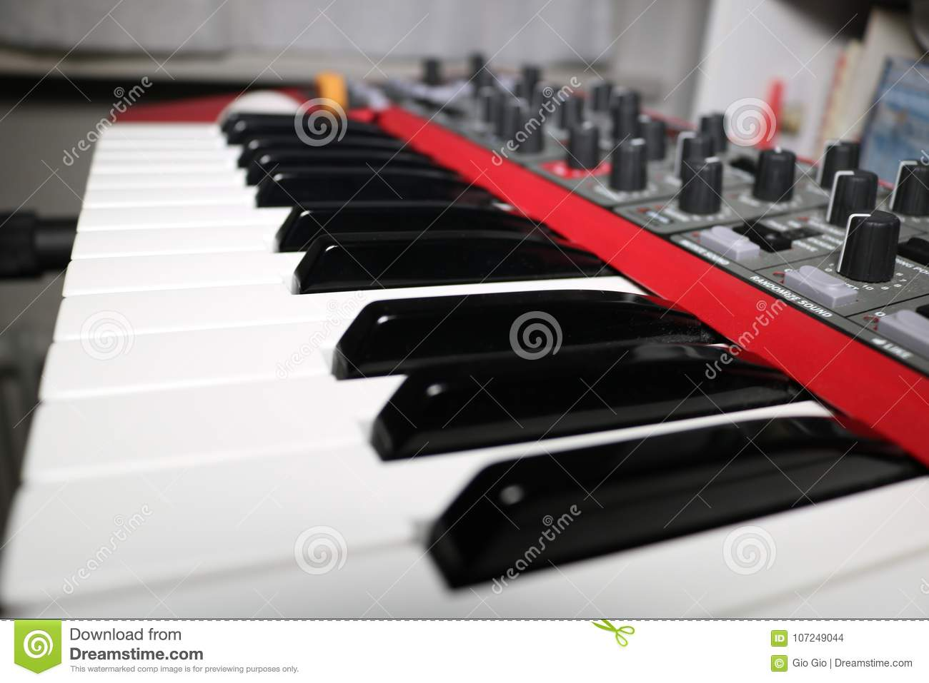 Synthesizer Keyboard Close Up In A Room Stock Photo - Image of song