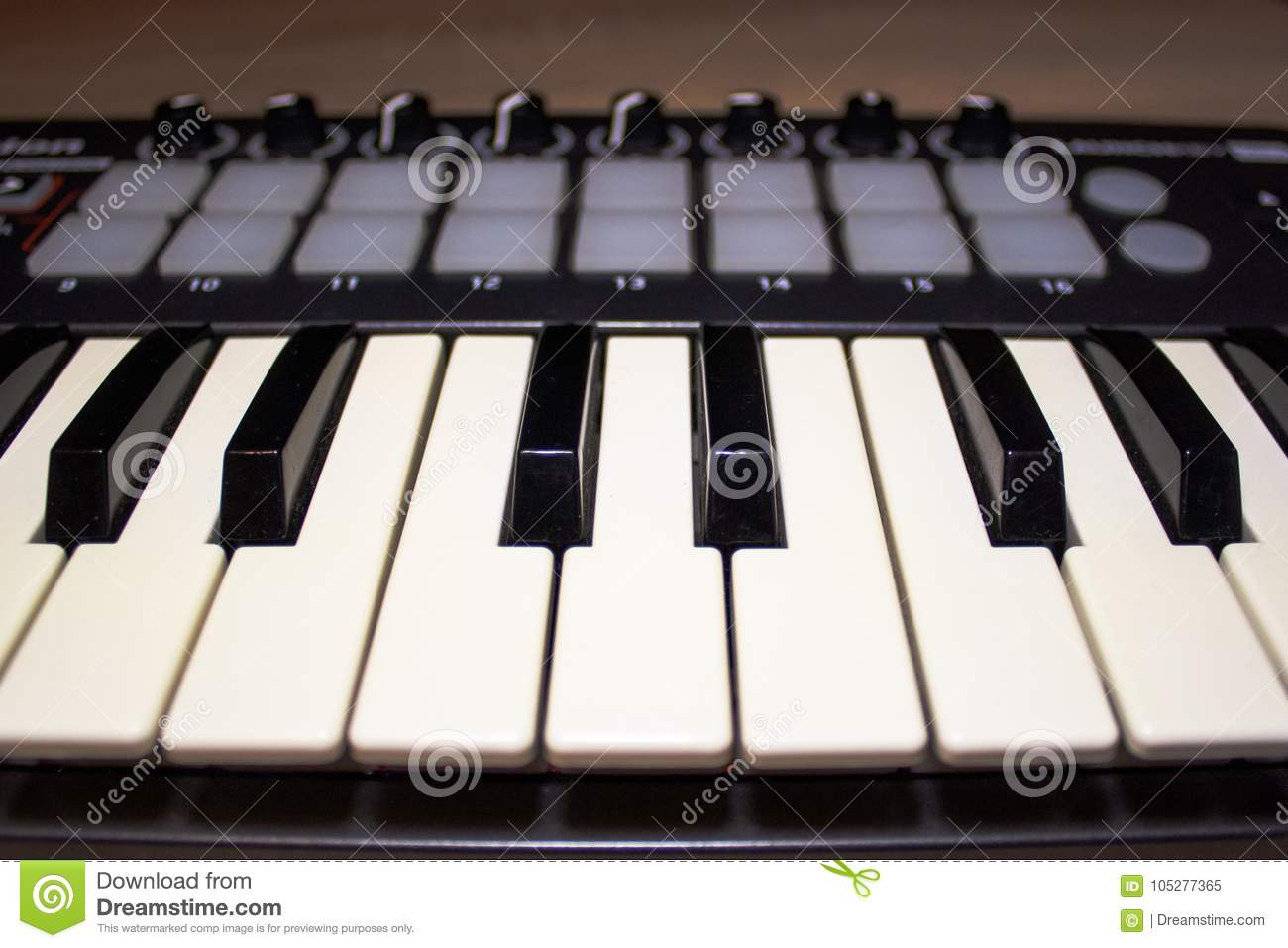 Midi Keyboard Keys Close-up Stock Image - Image of musicn