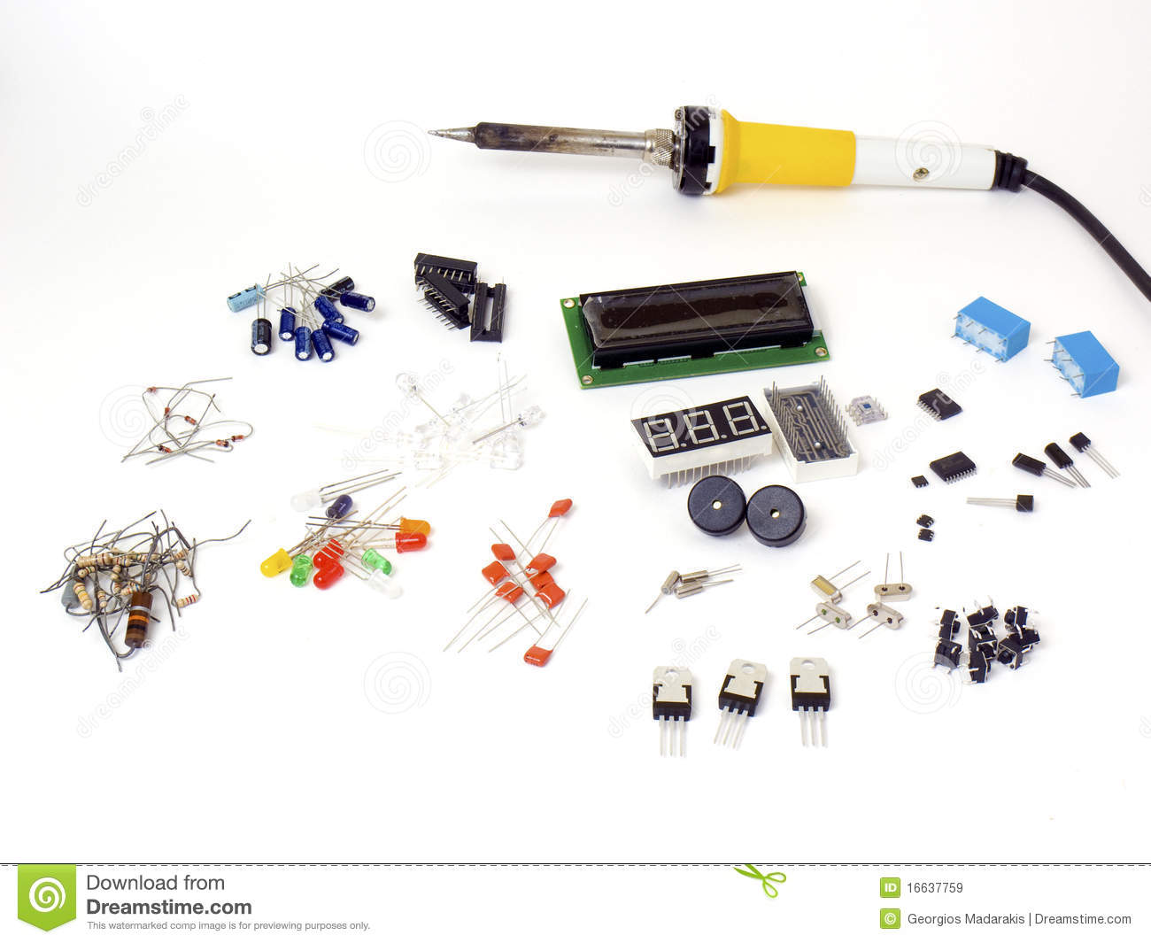 Electronic Component Parts : Electronic parts stock image of component