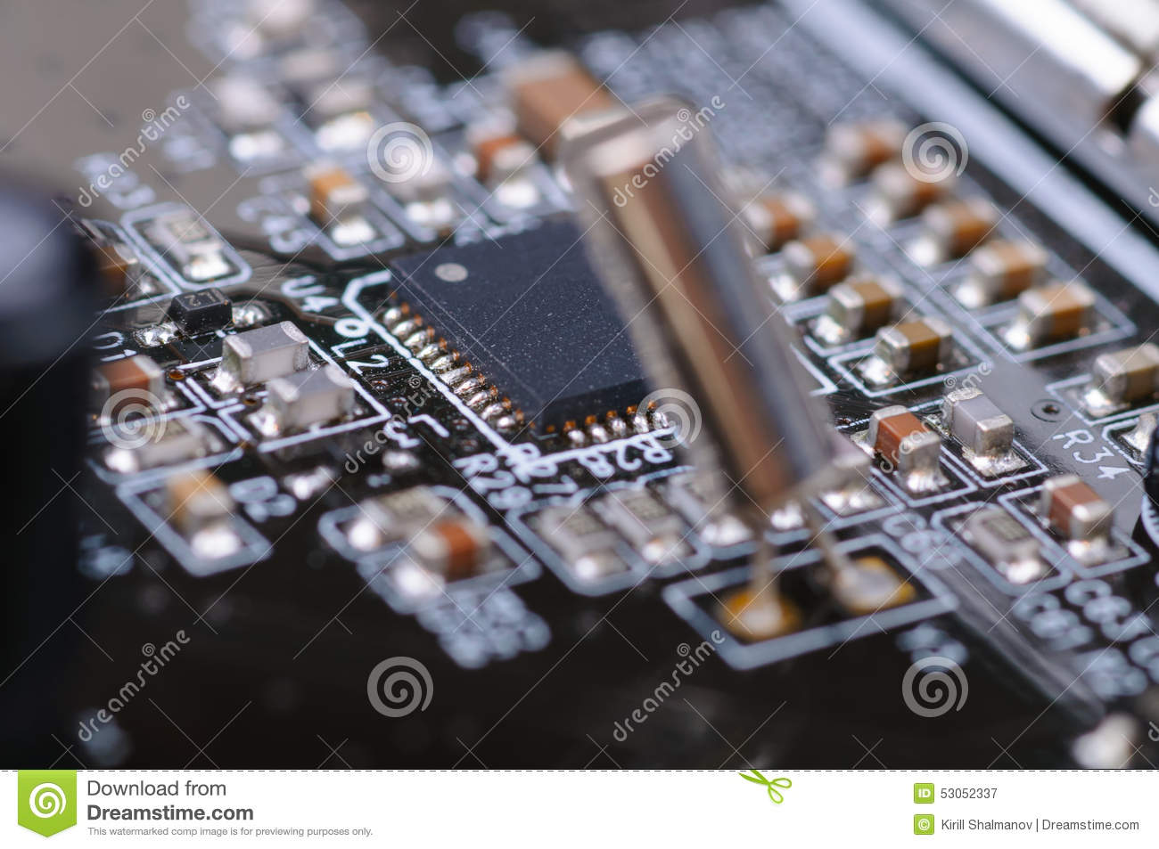 Electronic Pcb Stock Image Of Equipment Contact 53052337 Computer Circuit Board With Electronics Components Royalty Free Photo