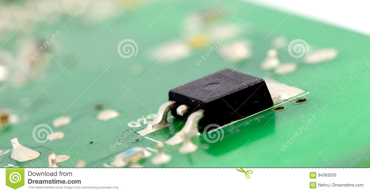 Electronic Printed Circuit Board With Many Electrical Components Stock Photo Detail Of An Componentsshallow Dof