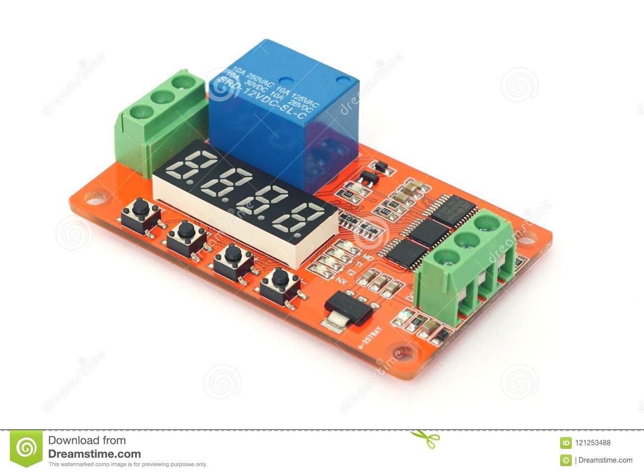 Circuit Board With Lcd And Relay Stock Photo Image Of Function