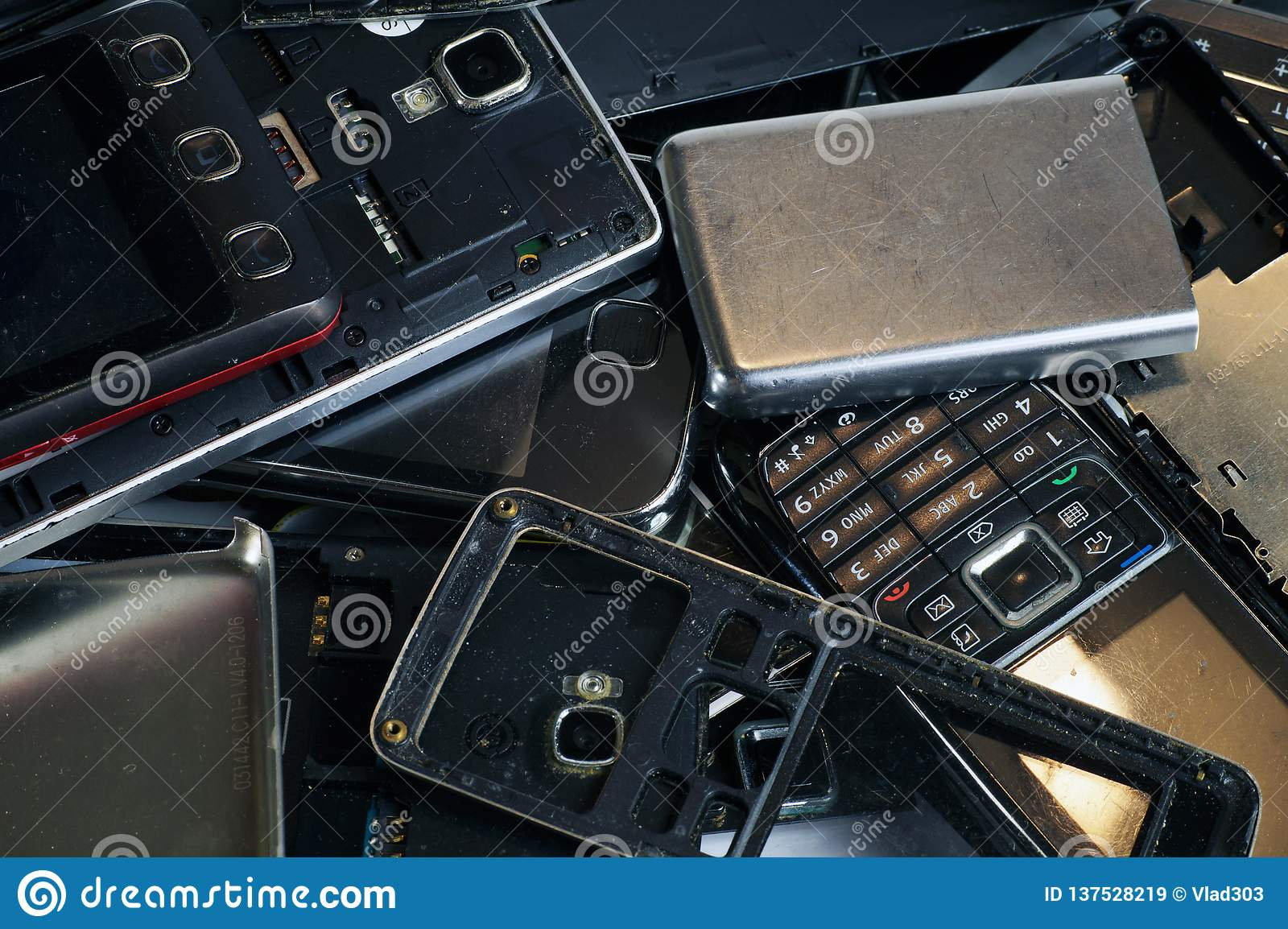 Different phones and smartphones not suitable for repair.Electronic scrap