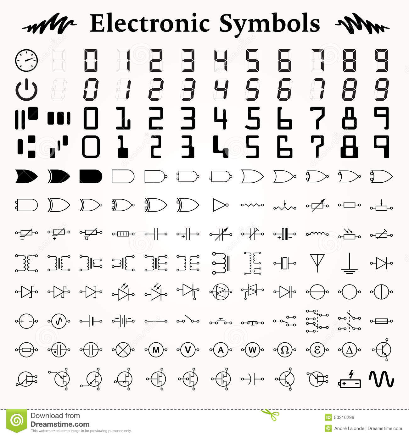 Electronic Symbols stock vector. Illustration of diagram - 50310296