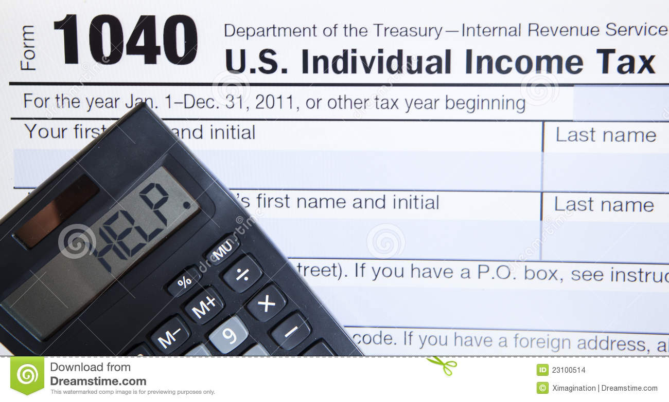 Electronic tax form with calculator stock images image for 1040 tax table calculator