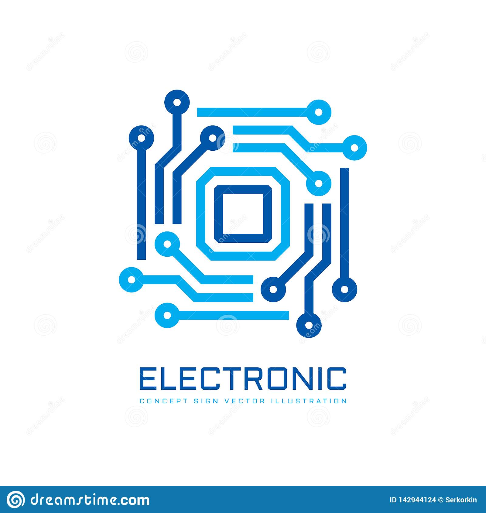 Electronic Technology Computer Chip Processor - Concept Business Logo Template Vector