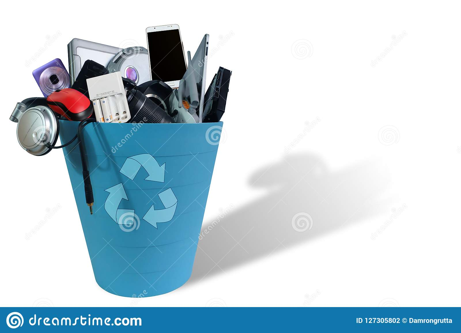 Electronic Waste broken or damage In Recycle bin isolated on white background