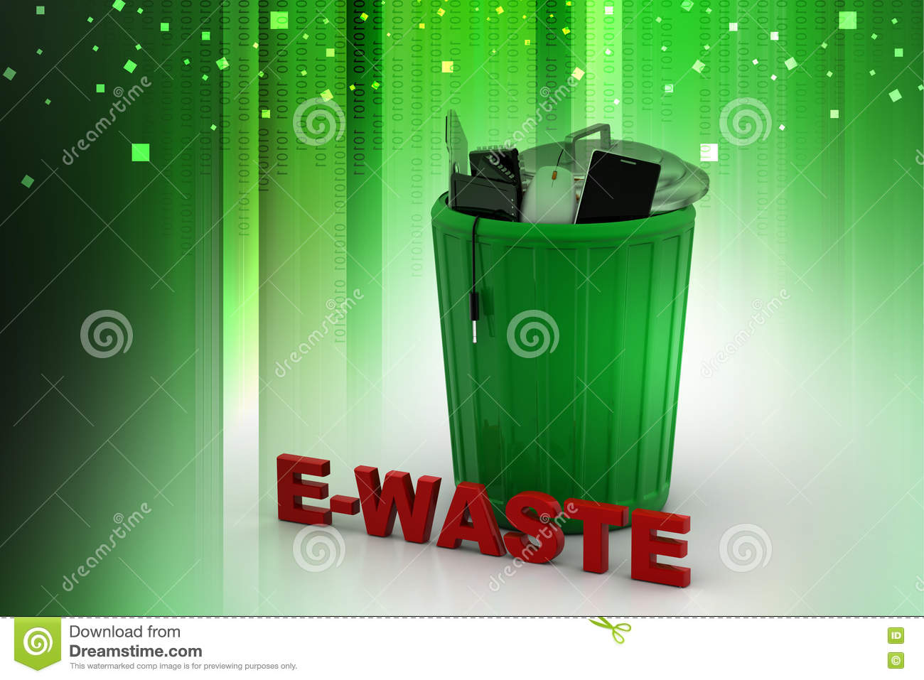 E waste background images - Electronic Waste In Green Trash Can Stock Illustration