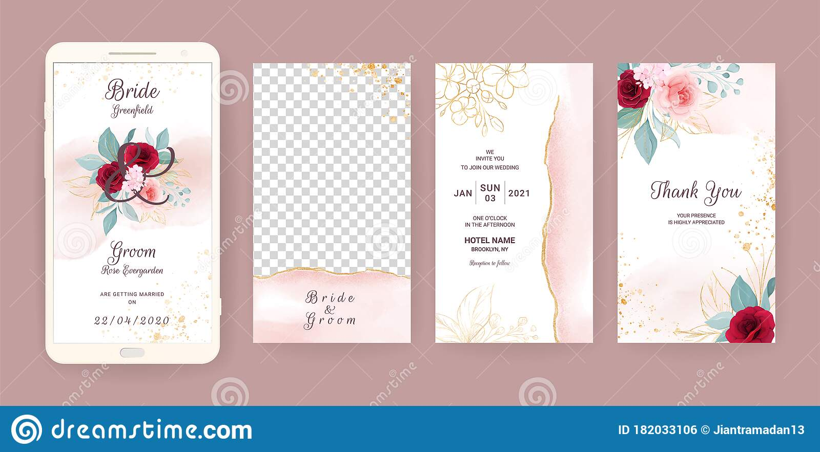 Electronic Wedding Invitation Card Template Set With Floral And