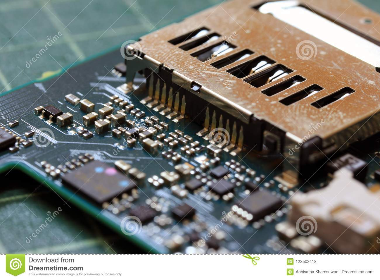 Electronics Background Technology Close Up Of The Green Kit Circuit Integrated Board Stock Photo Closeup Application Specific