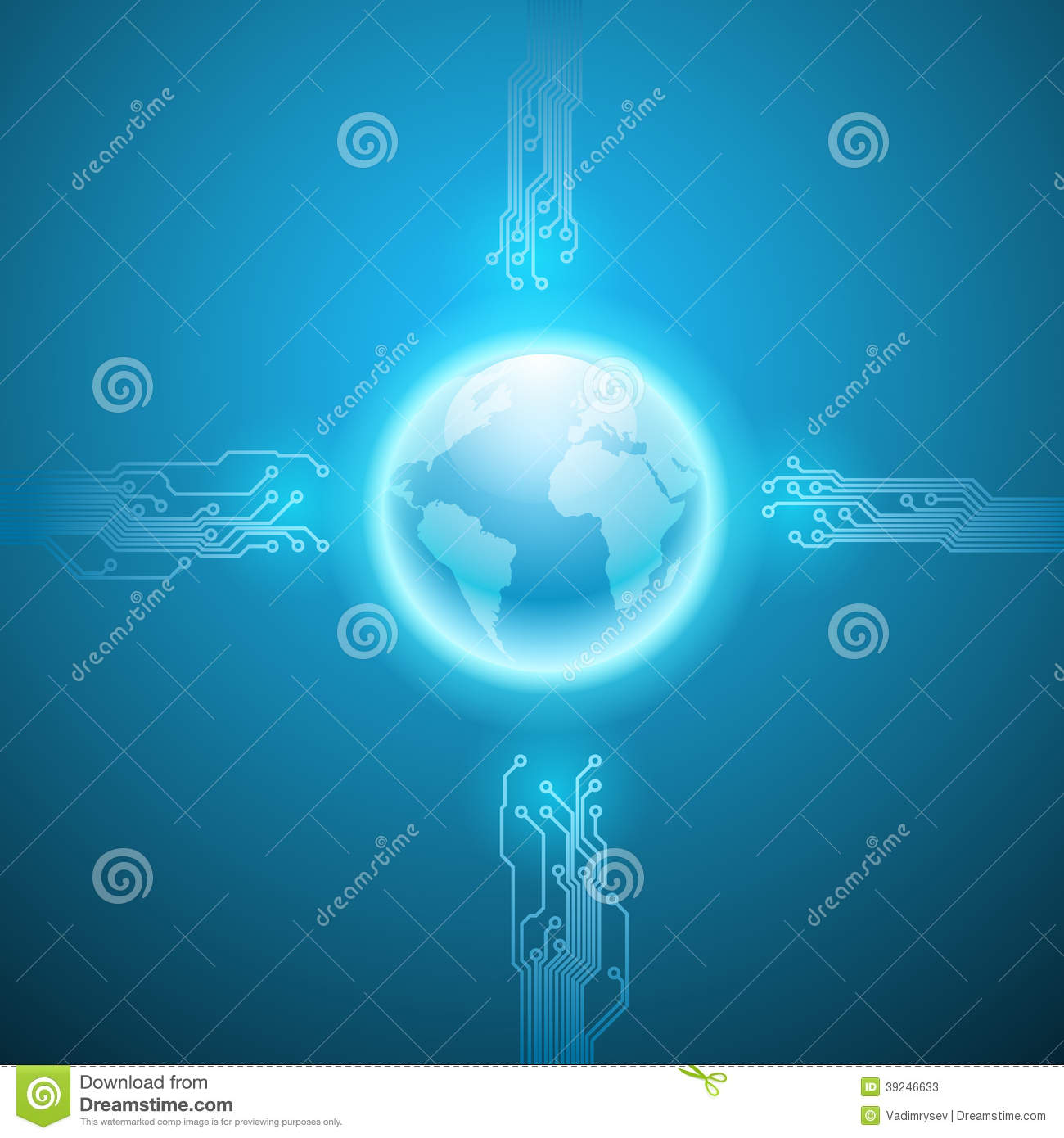 Electronics Blue Background With Circuit Board Stock Vector Boards Like Magic Appears Abstract Texture And The Earth Eps10