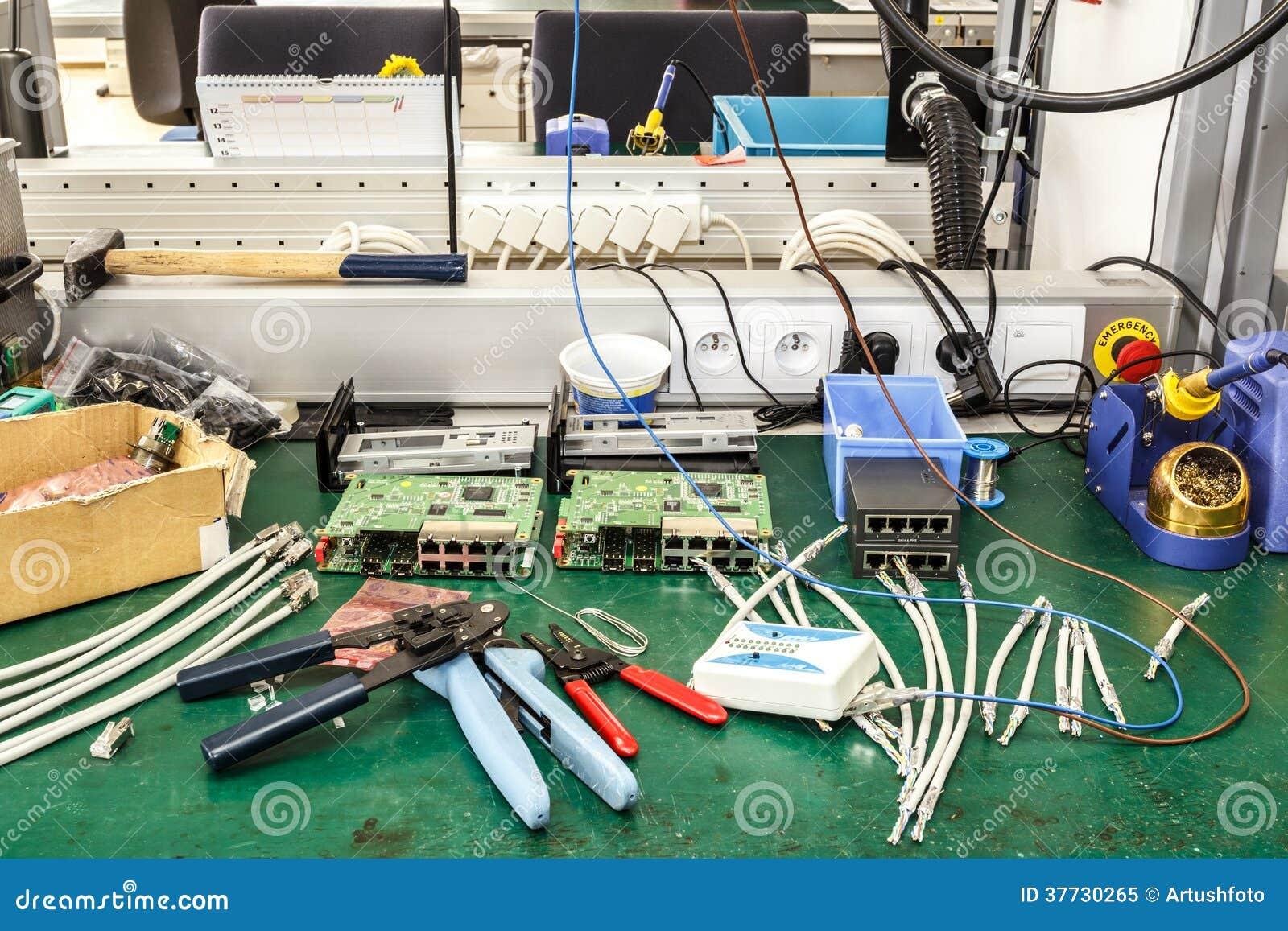 Electronic Assembly Tools : Electronics factory equipment stock photo cartoondealer