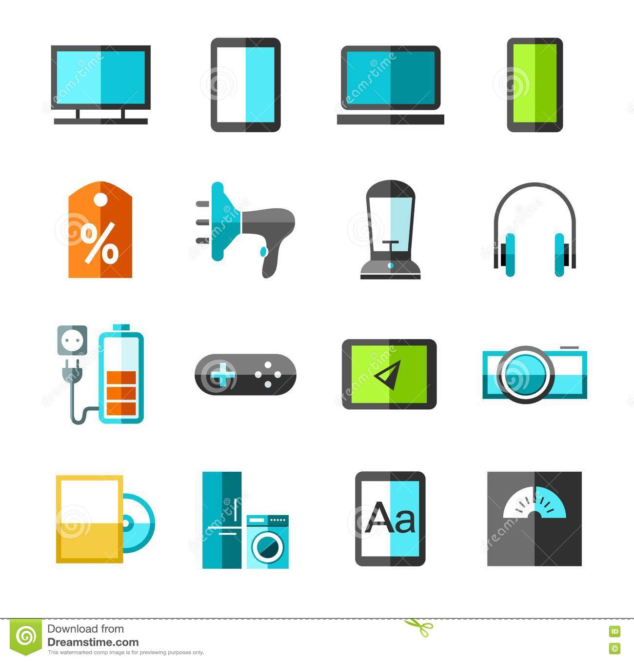Electronics Gadgets And Appliances Color Icons Stock Vector