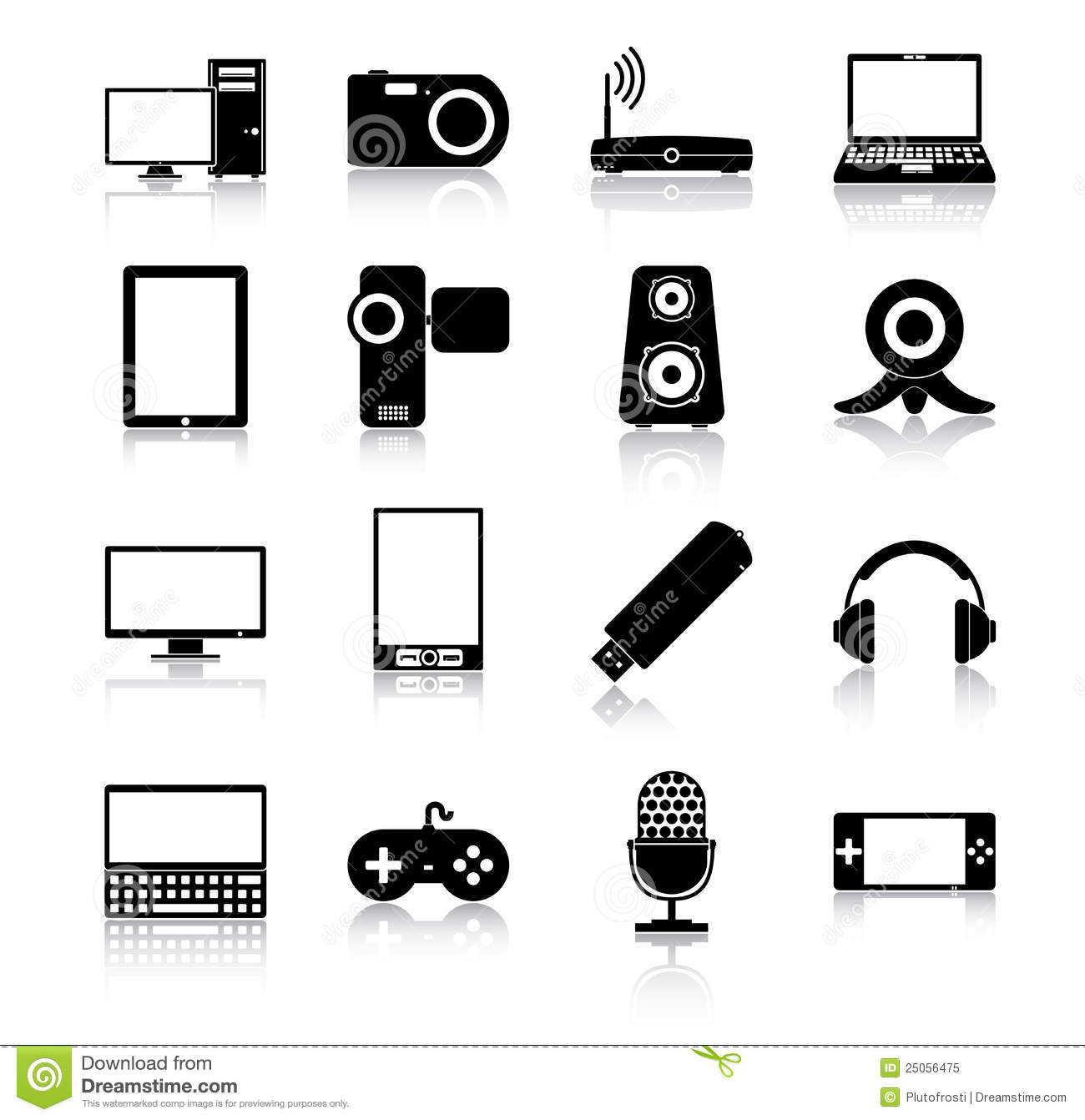 Electronics Icons Stock Vector Illustration Of Black 25056475