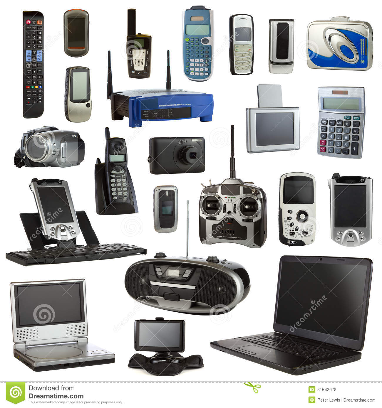 electronics devices electronic technology background collage isolated depicting preview