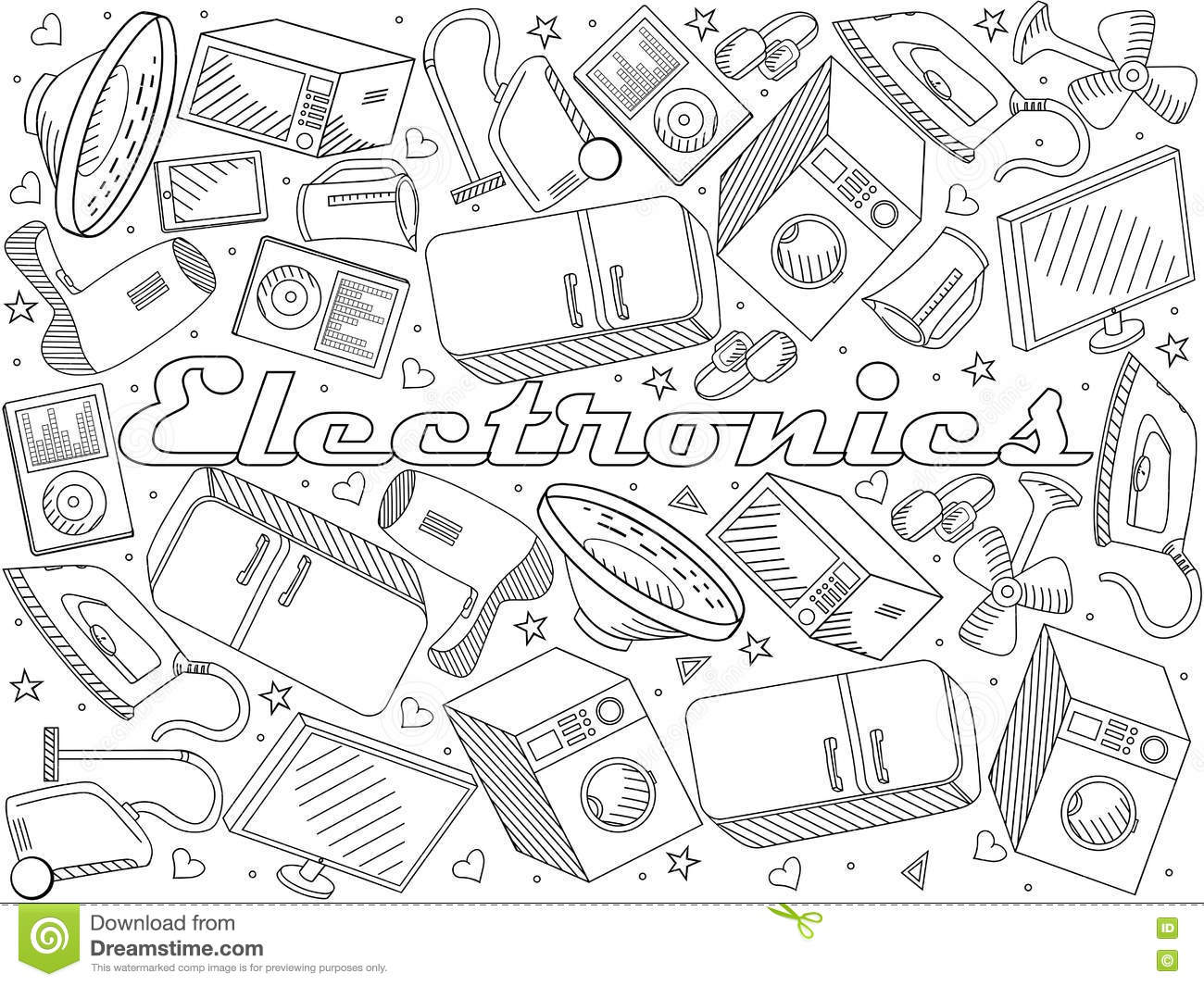 Line Art Design Illustration : Electronics line art design vector illustration stock