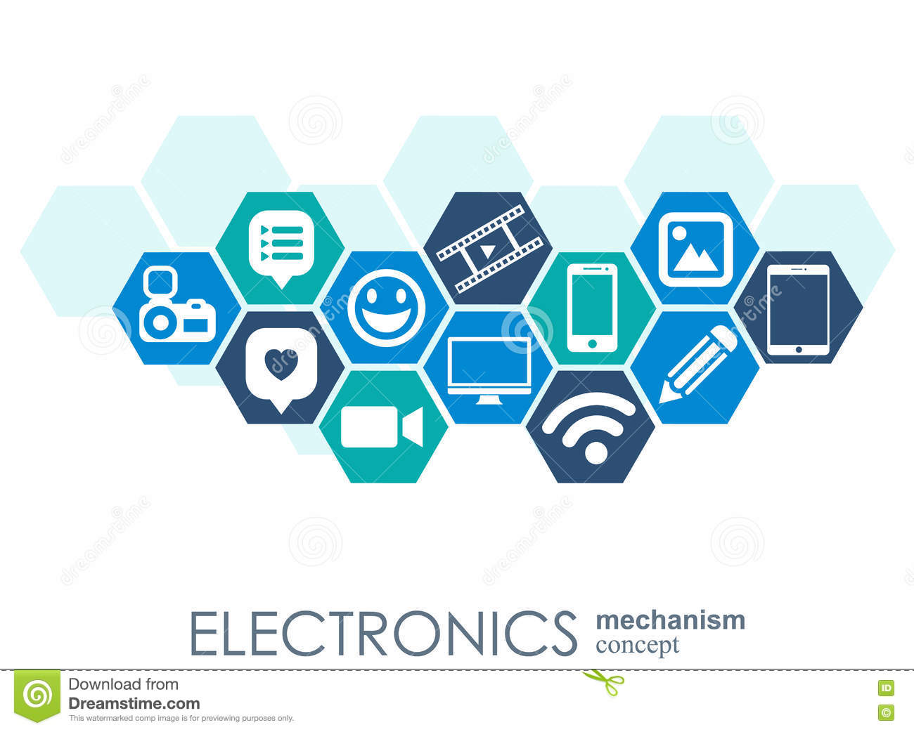 Electronics Mechanism Abstract Background With Connected Gears And