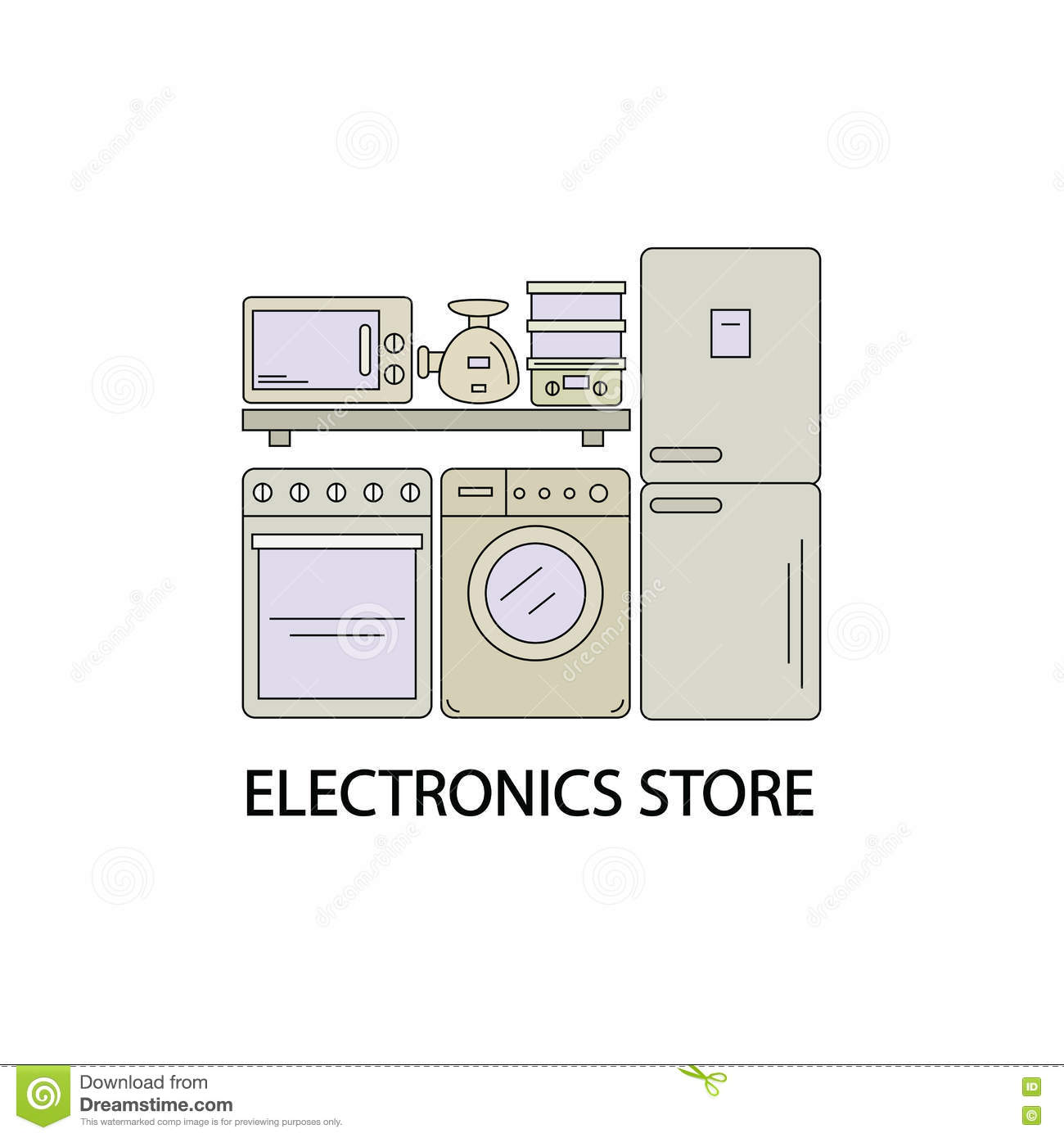 Washing Machine Icon Outline Style Cartoon Vector