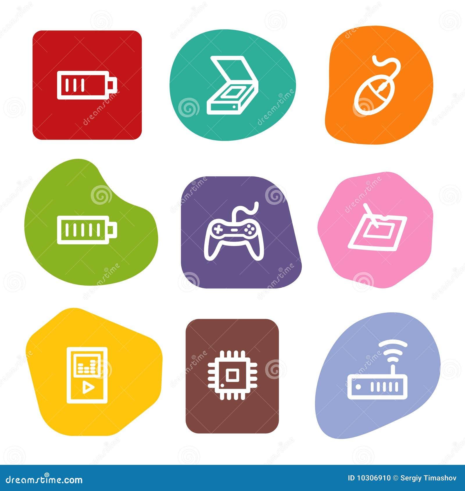 Electronics web icons set 2, colour spots series