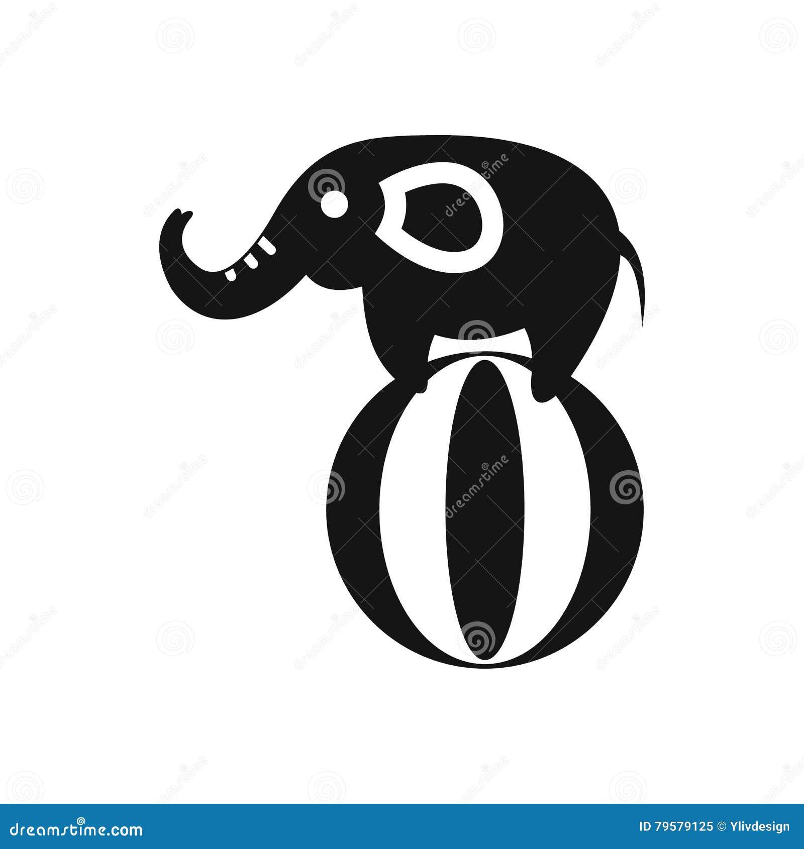 elefant der auf einer ballikone einfache art balanciert