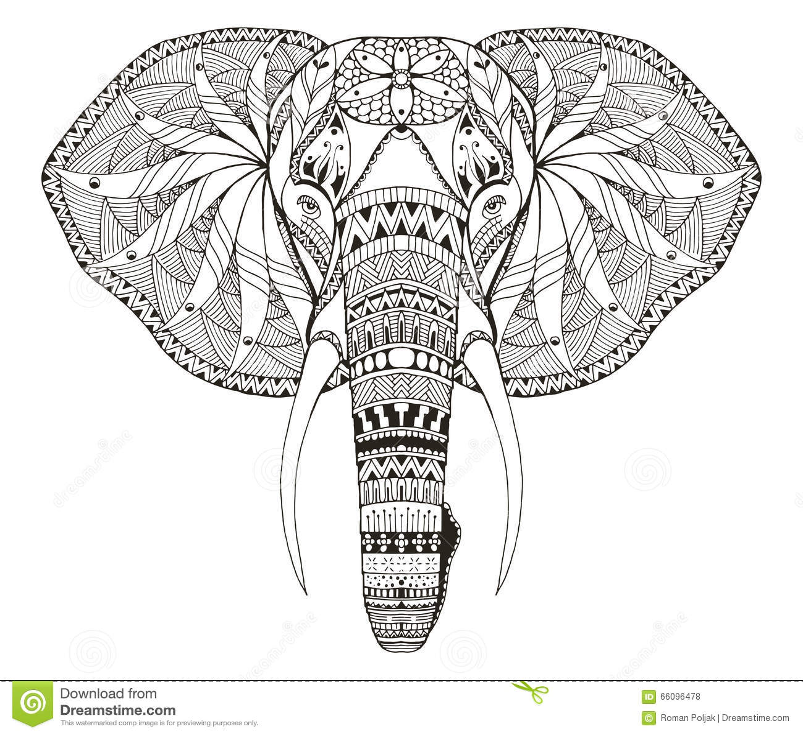 Elefant Haupt-zentangle Stilisierte, Vector, Illustration ... - photo#36