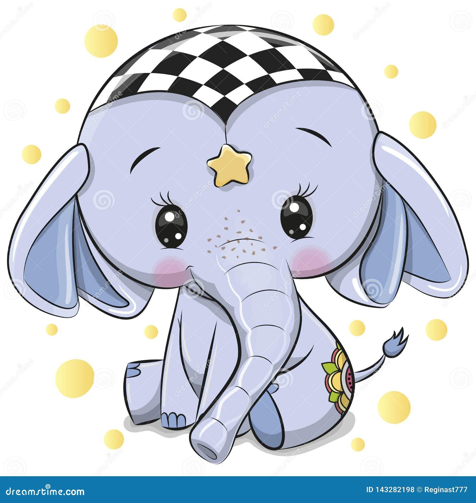 Elefante azul bonito isolado em um fundo branco