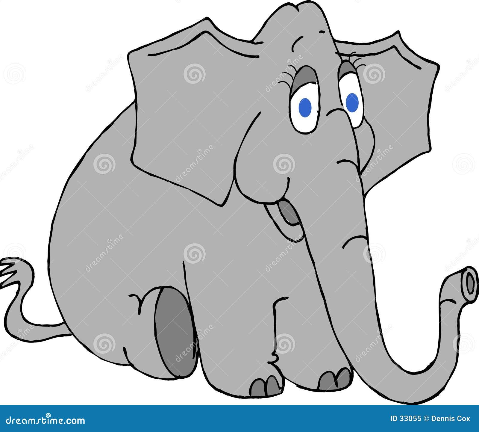 Download Elefante Con Los Ojos Azules Grandes Stock de ilustración - Ilustración de diversión, sentada: 33055