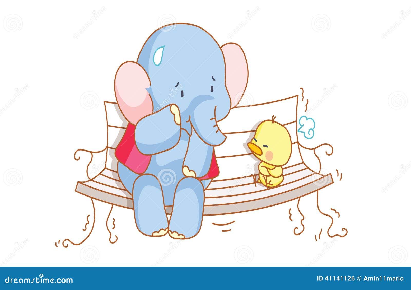 Elefante de la historieta y un polluelo lindo que se sienta en una silla