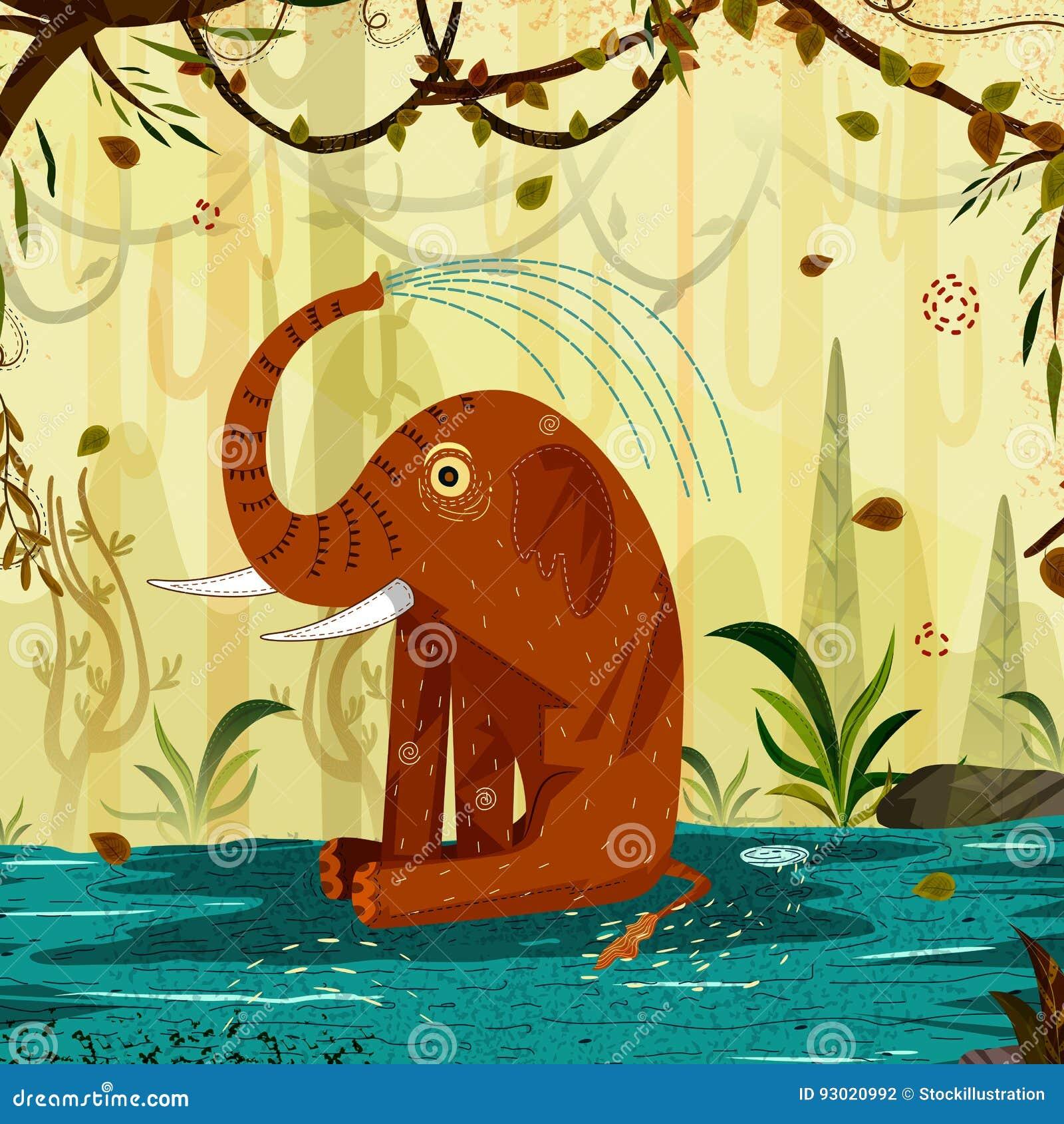 Elefante del animal salvaje en fondo del bosque de la selva