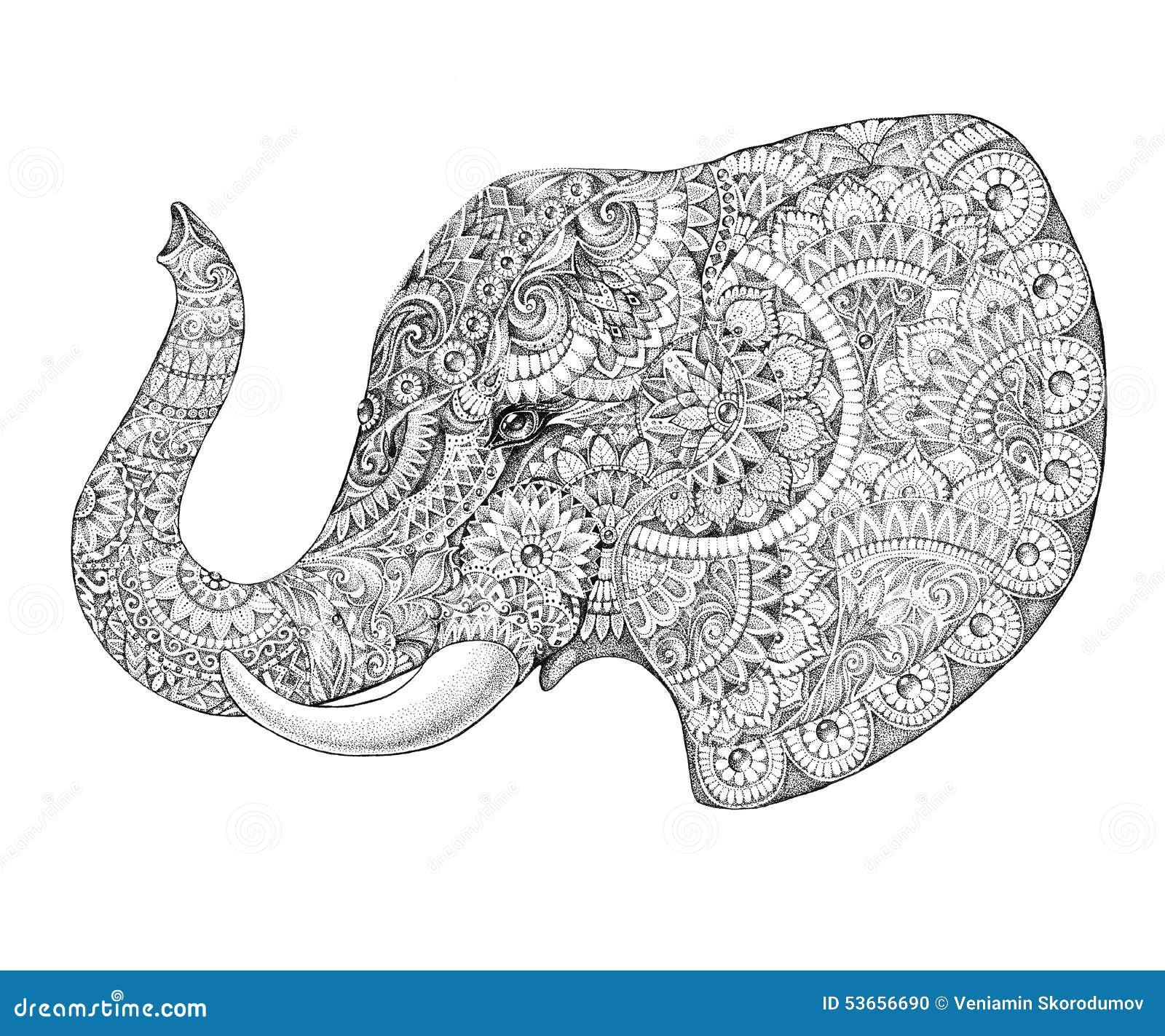 Libro De Colorear Del Elefante Para El Vector De Los Adultos ...