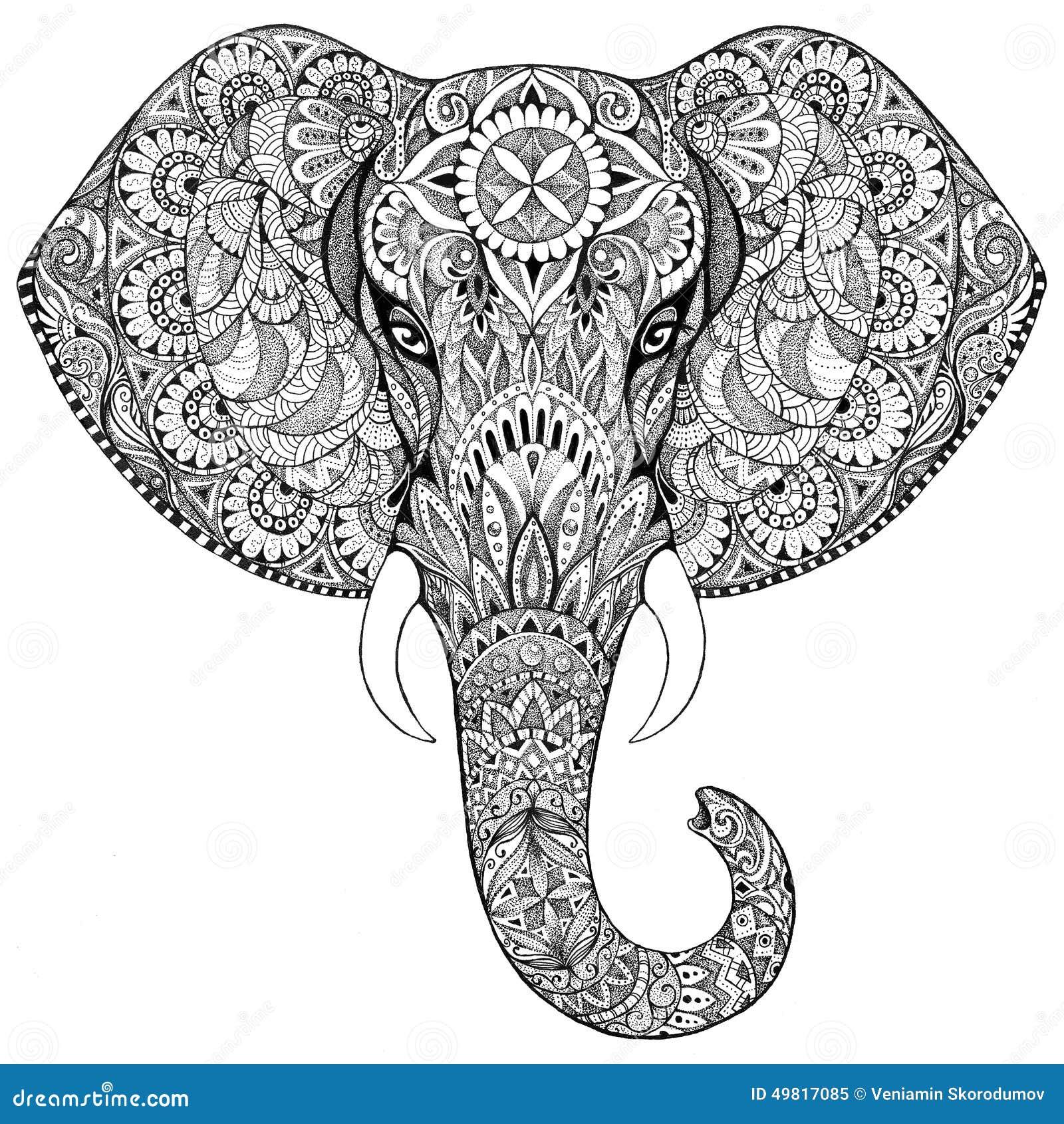 Elefante Del Tatuaje Con Los Modelos Y Los Ornamentos Stock De