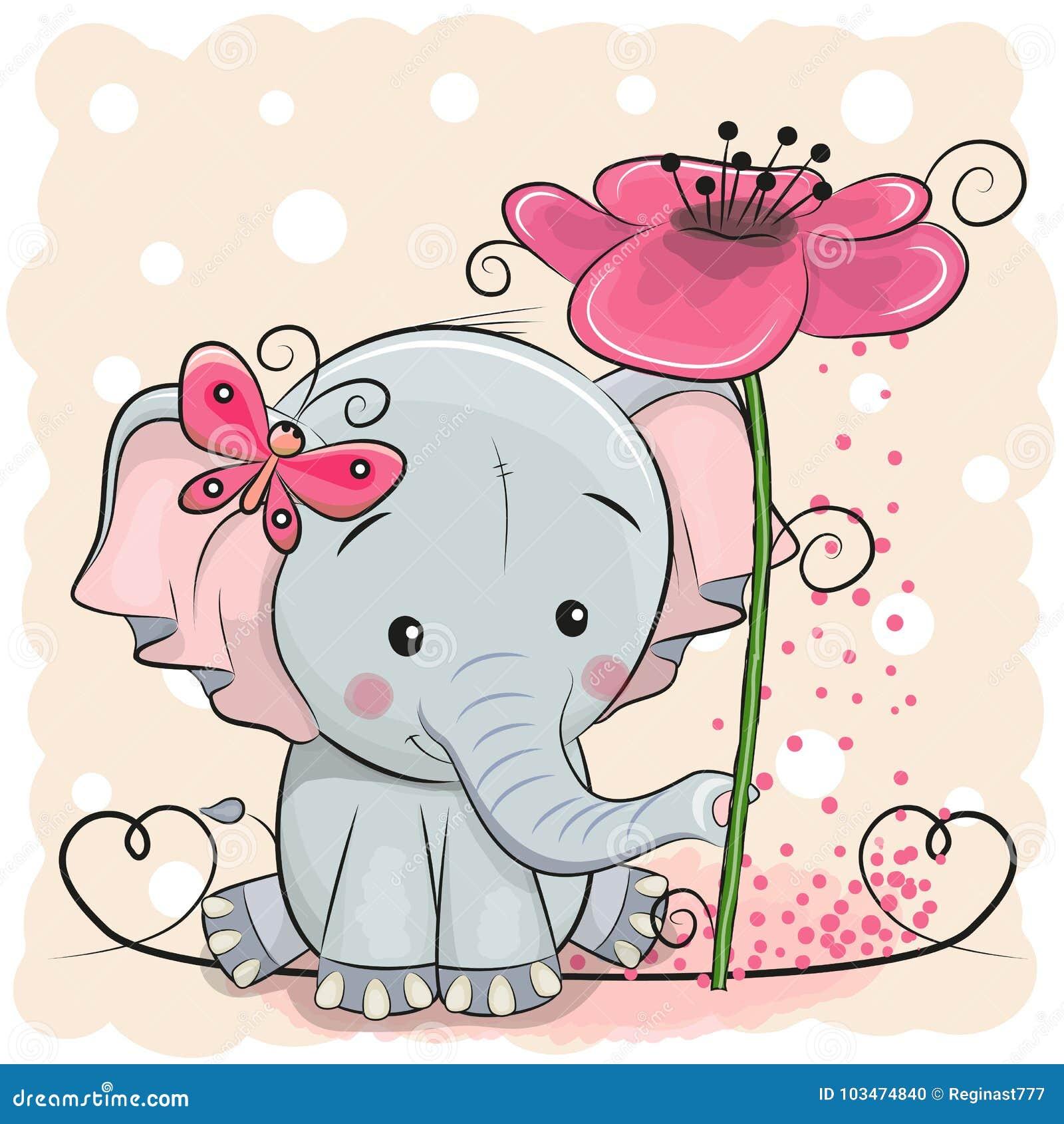 Elefante della cartolina d auguri con il fiore