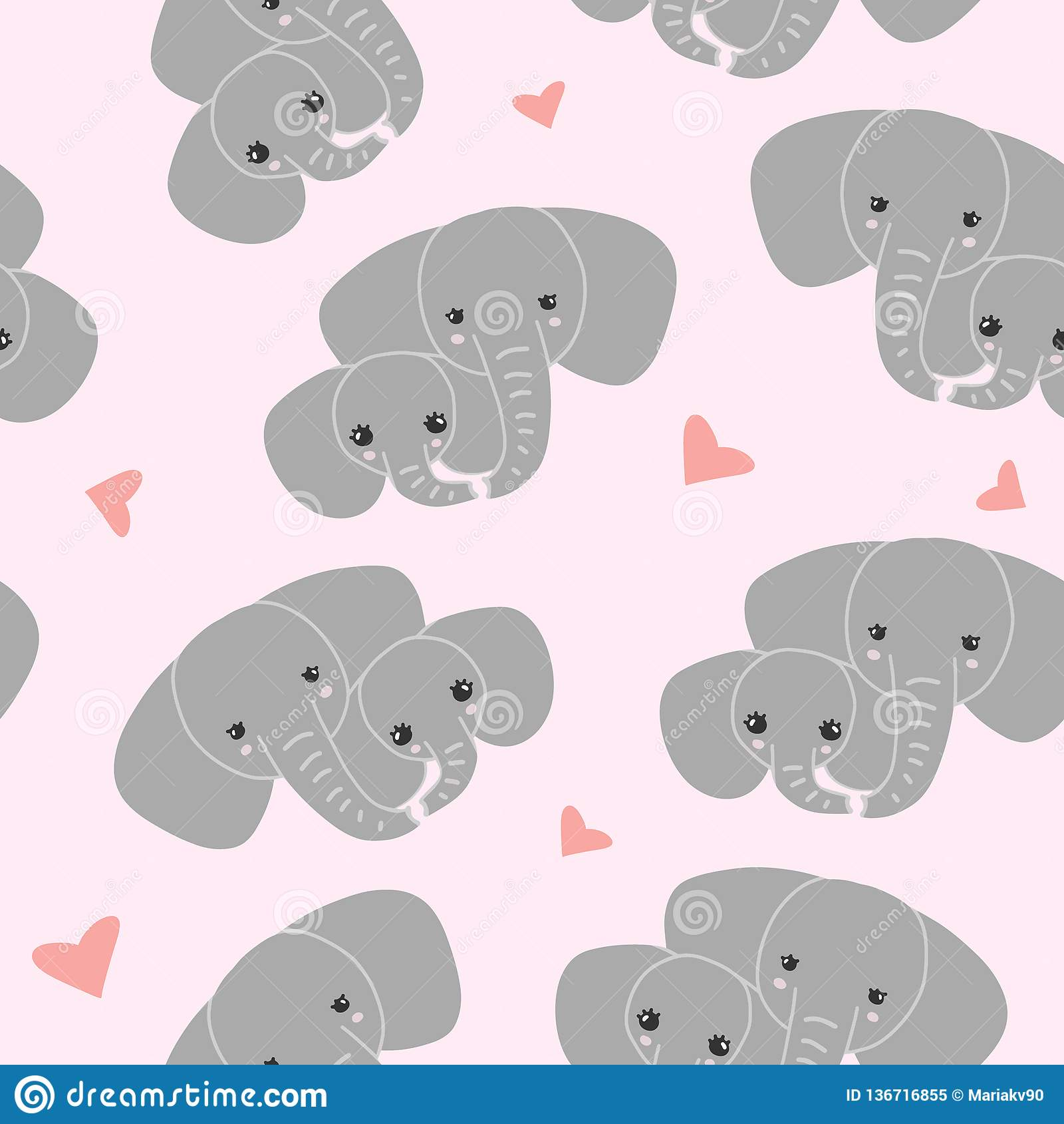 Elefante della madre con il bambino su fondo rosa Modello della famiglia dell elefante