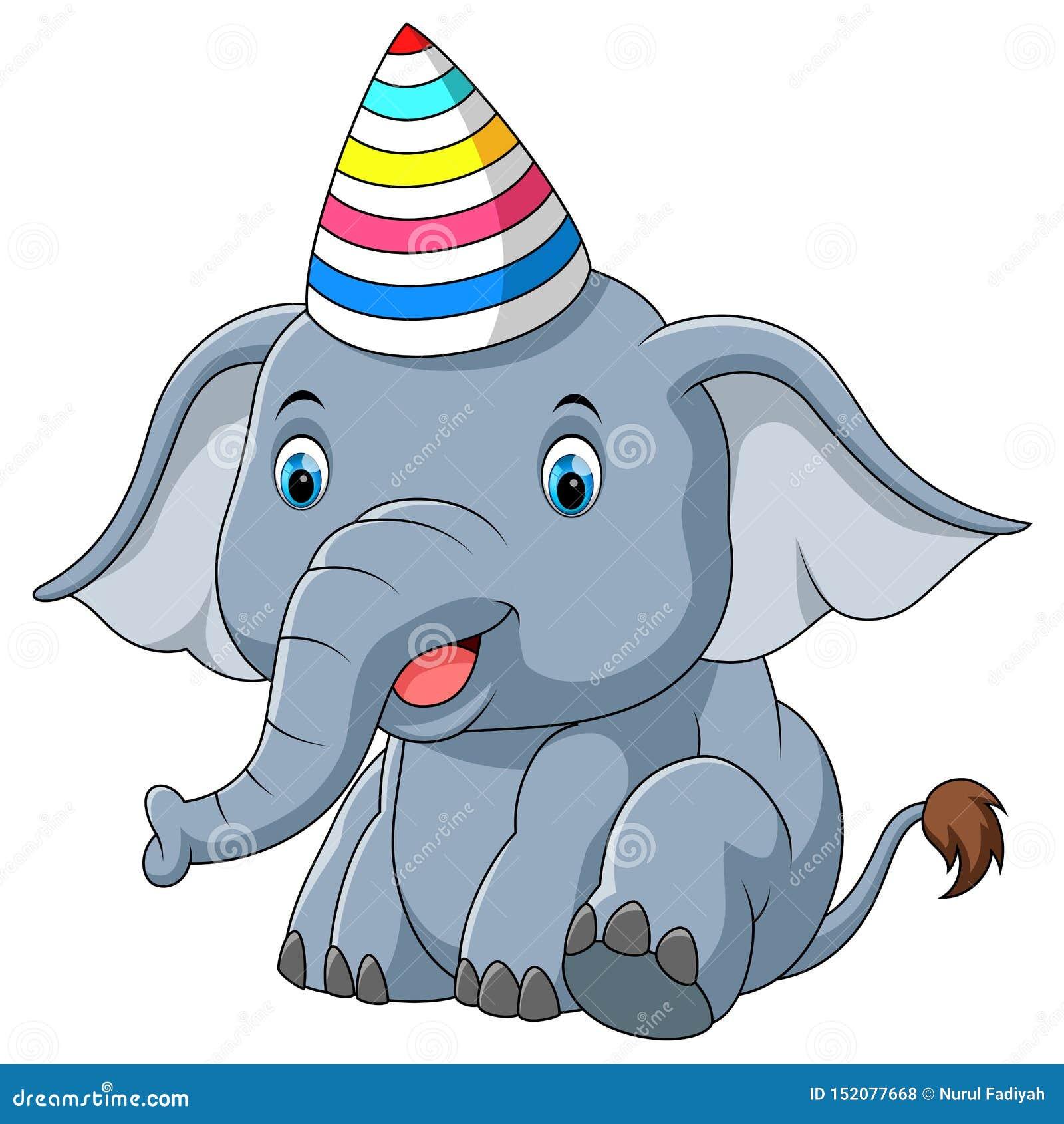 Elefante do bebê usando desenhos animados do partido do chapéu