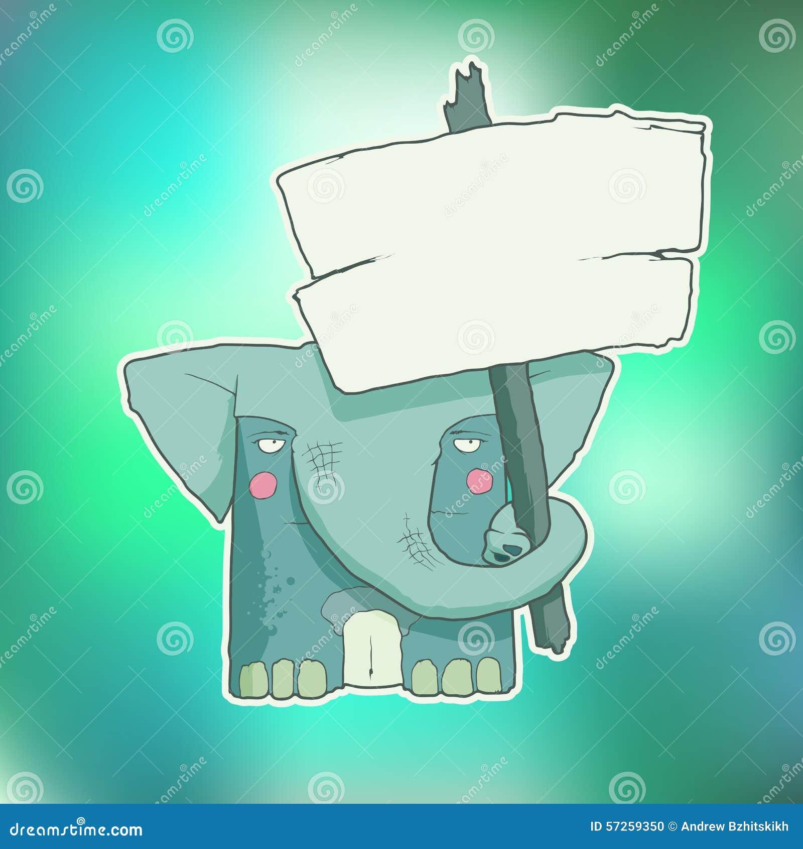 Elefante do personagem de banda desenhada com cartaz de madeira