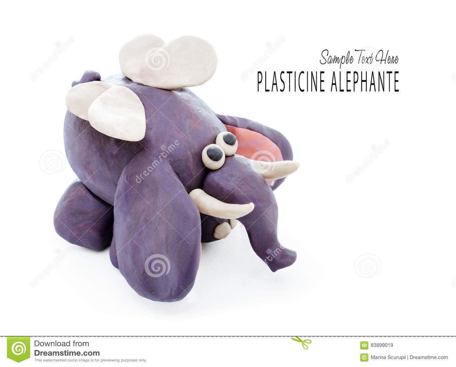 Elefante Dos Desenhos Animados Da Massa De Modelar Imagem De