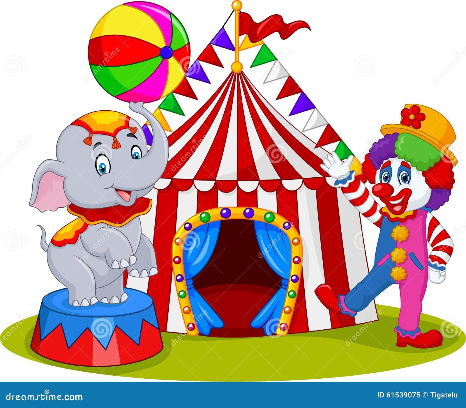 Elefante E Pagliaccio Del Circo Con Il Fondo Di Carnevale