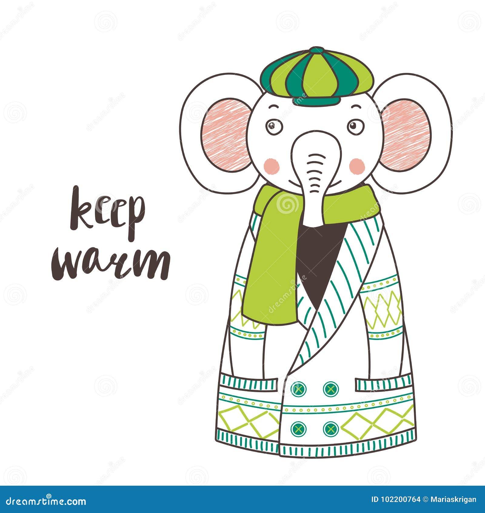 Elefante engraçado bonito em um casaco de lã e em um tampão feitos malha