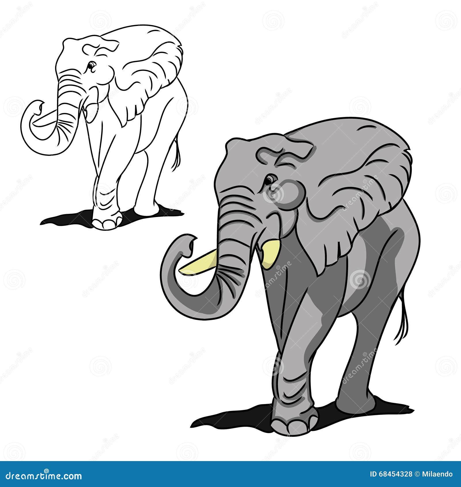 Elefante Grande Gris Para Colorear Ilustración Del Vector