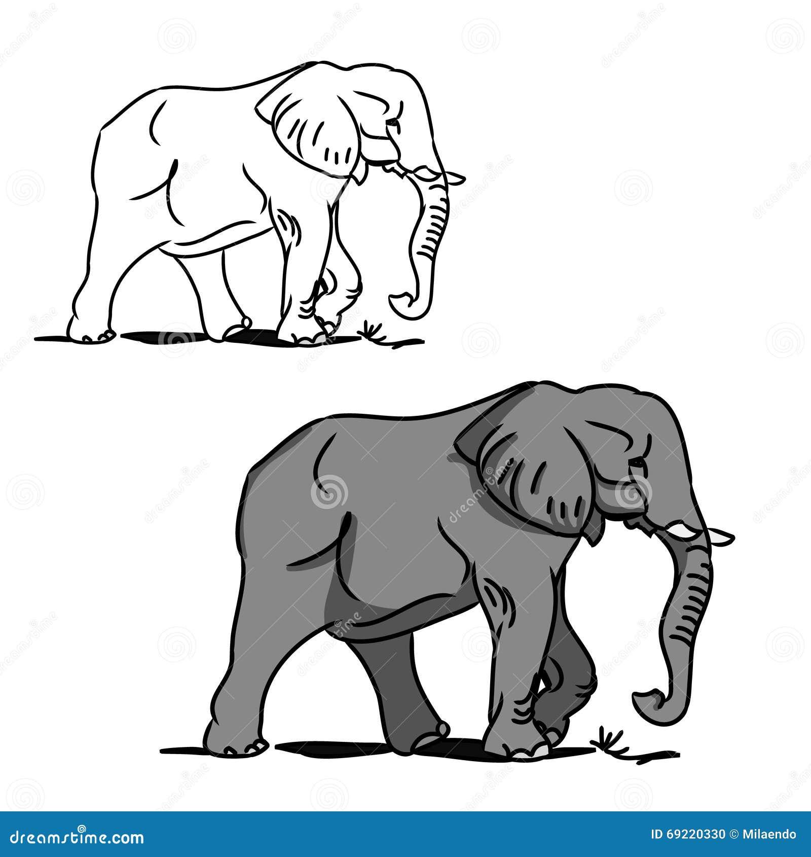Elefante Grande Gris (para Colorear) 0 Ilustración del Vector ...