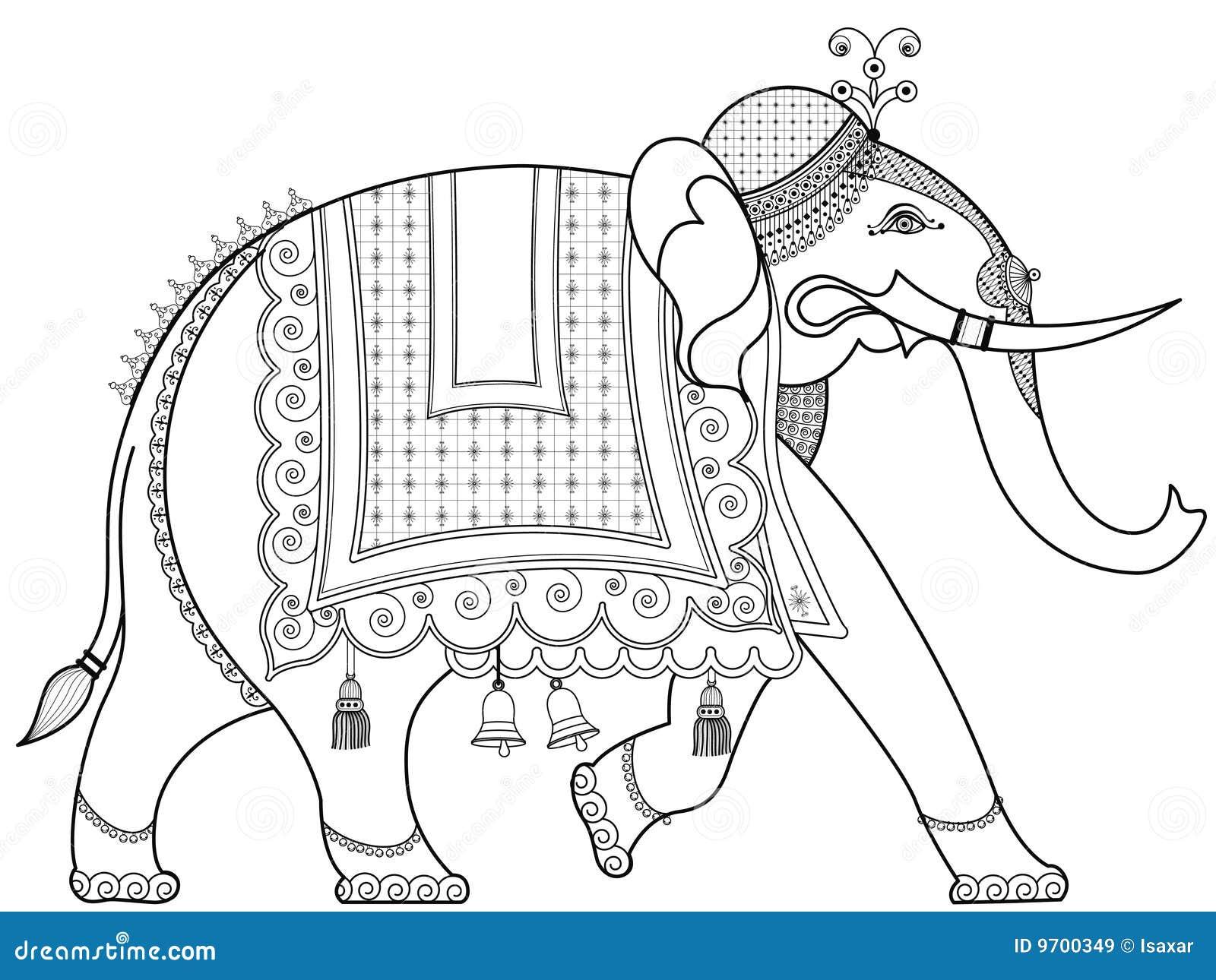 Elefante Indiano Decorado Ilustra 231 227 O Do Vetor Ilustra 231 227 O