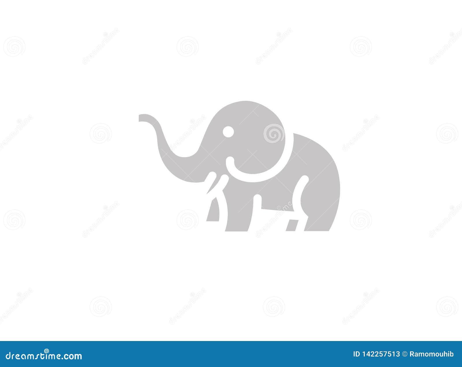 Elefante lindo con la manguera para arriba y el logotipo de los cuernos
