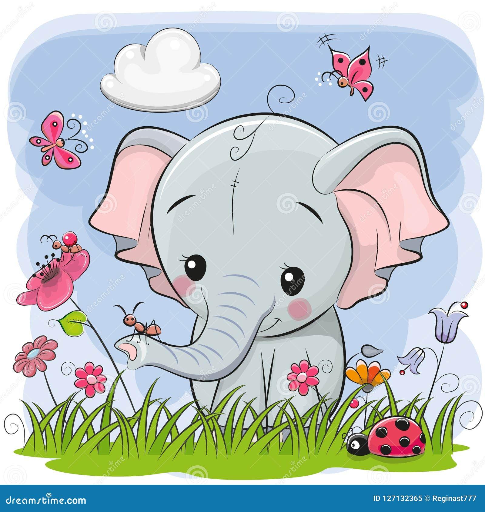 Elefante lindo de la historieta en un prado