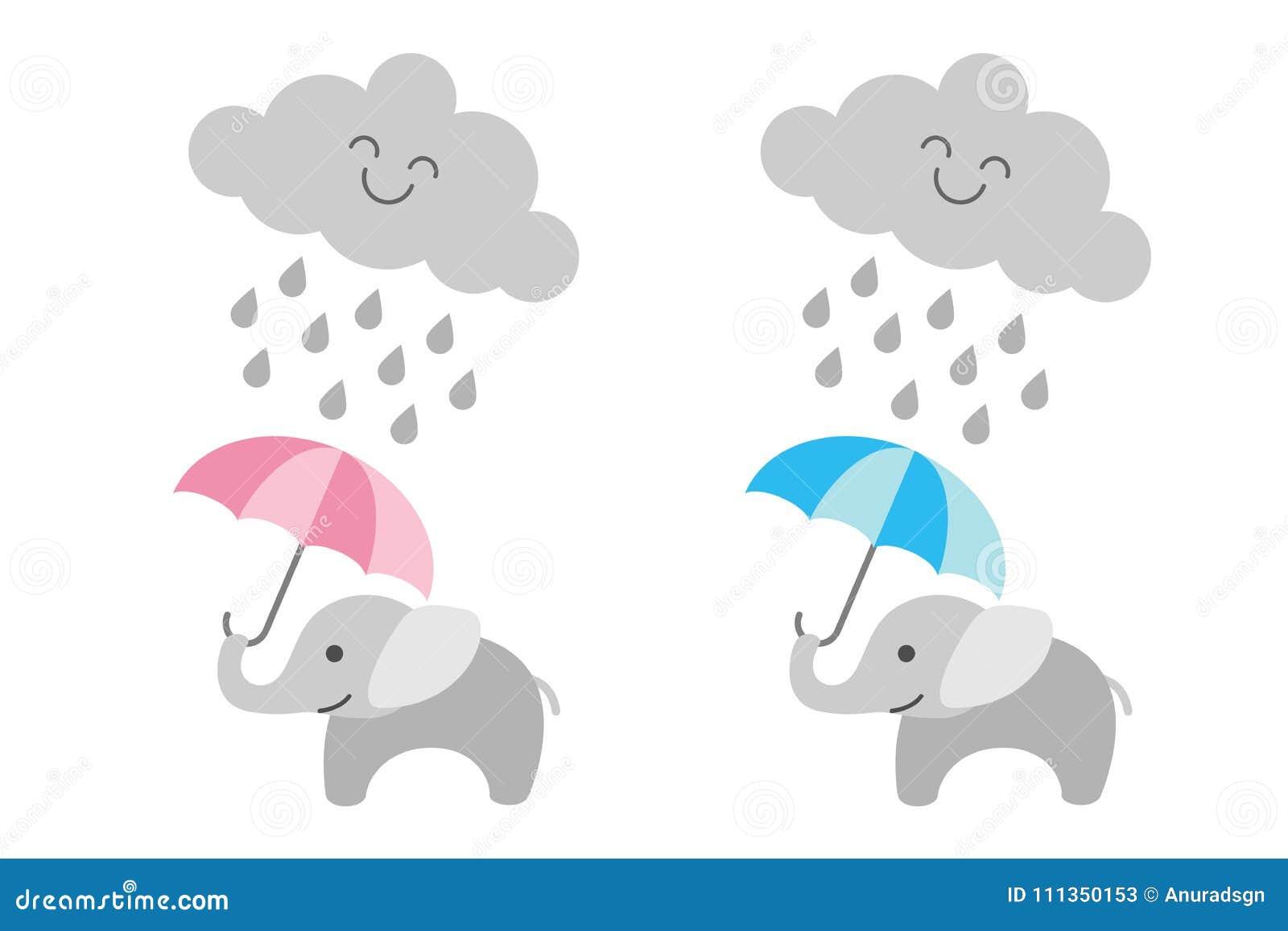 Elefante lindo del bebé debajo de la nube lluviosa - muchacha y muchacho