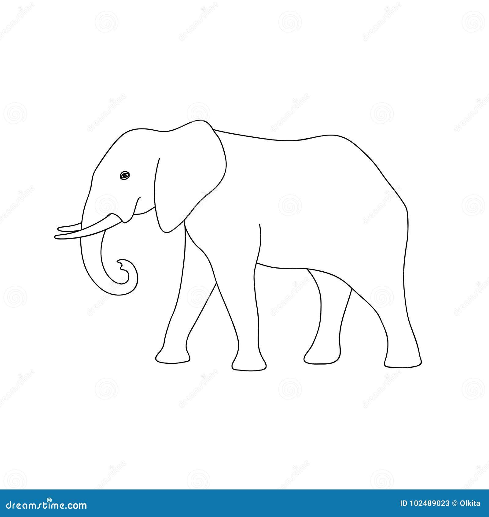 Elefante Monocromático Aislado Del Esquema Negro En El Fondo Blanco ...