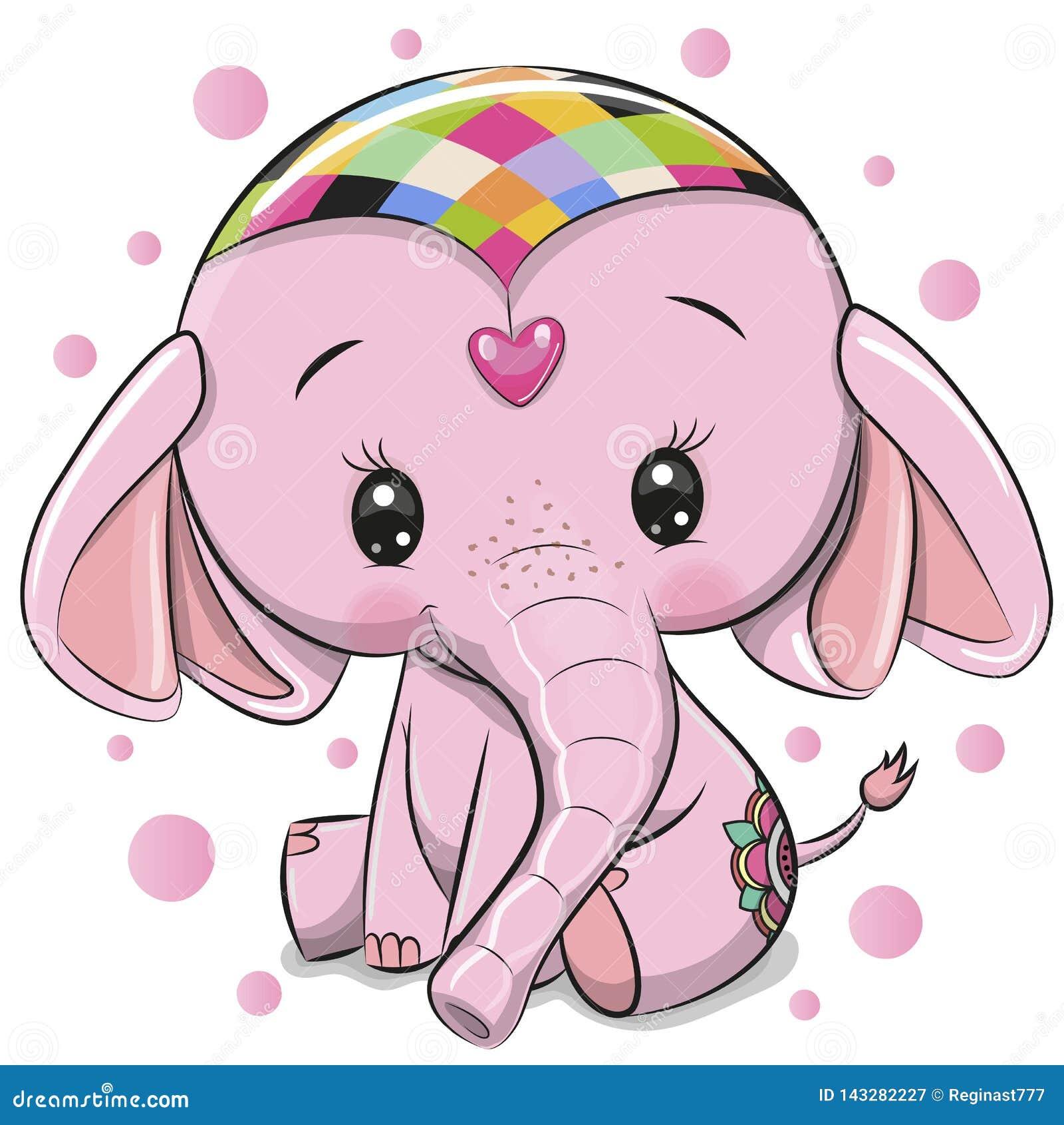 Elefante rosado lindo aislado en un fondo blanco